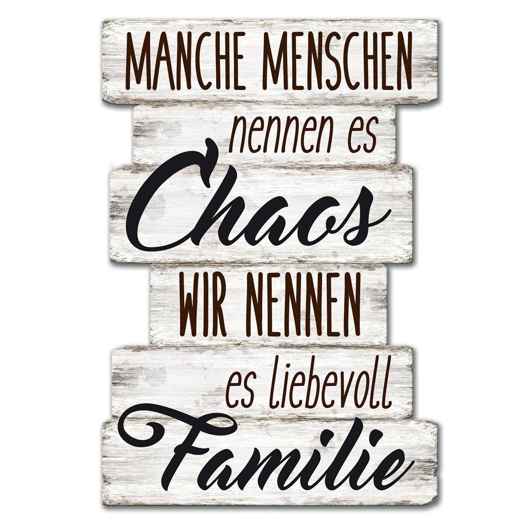 Toll Wandschild Dekoschild Chaos Familie Schild Sprüche Vintage Shabby 29 X 20  Cm.