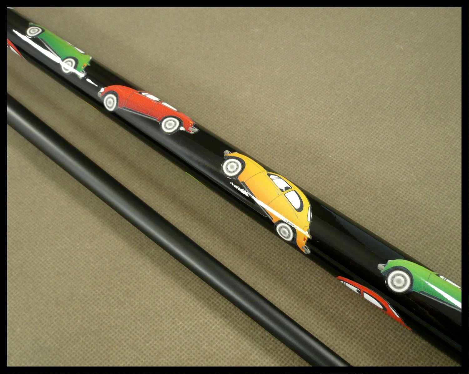 An international Custom Pool Cue order  This cue went to a VW Beetle