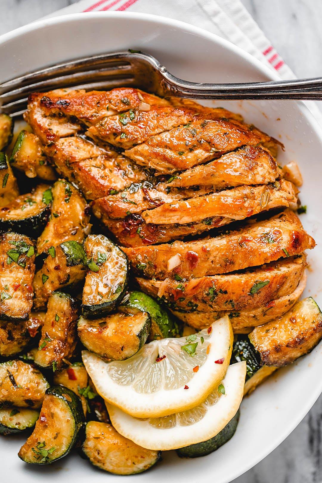 Asado Chicken And Sauteed Lemon Zucchini Recipe Chicken Asado Recipe Healthy Chicken Recipes Sauteed Zucchini Recipes