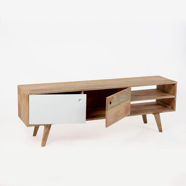 ce meuble tv bois massif d scandinave s dans un style trs rtro dimensions hxlxp 50 x 150 x 35 cm livraison standard au pied de l sur crneau - Meuble Tv Hifi Bois Massif