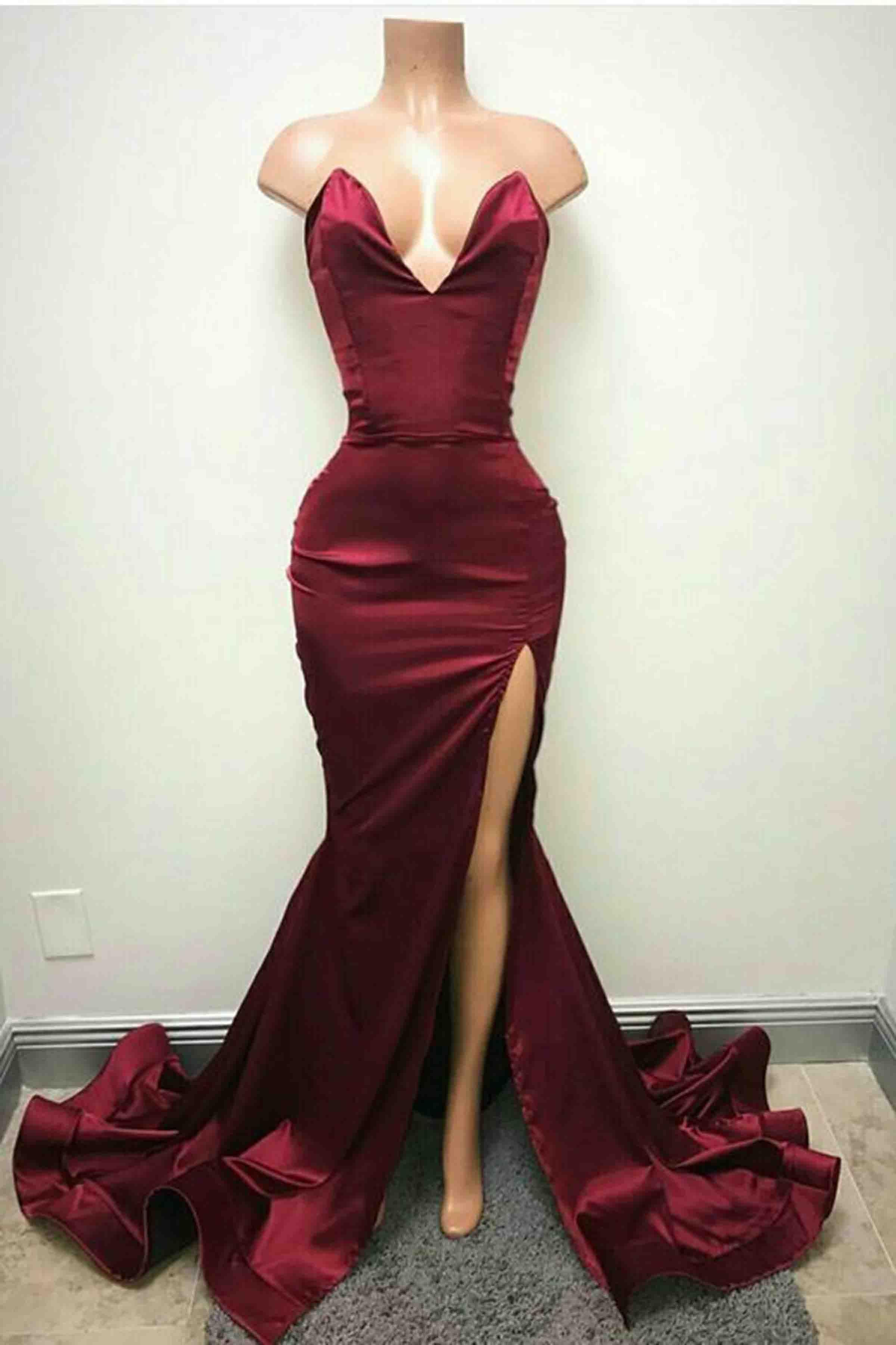 Crimson satin mermaid long formal dress with slit fashion prom