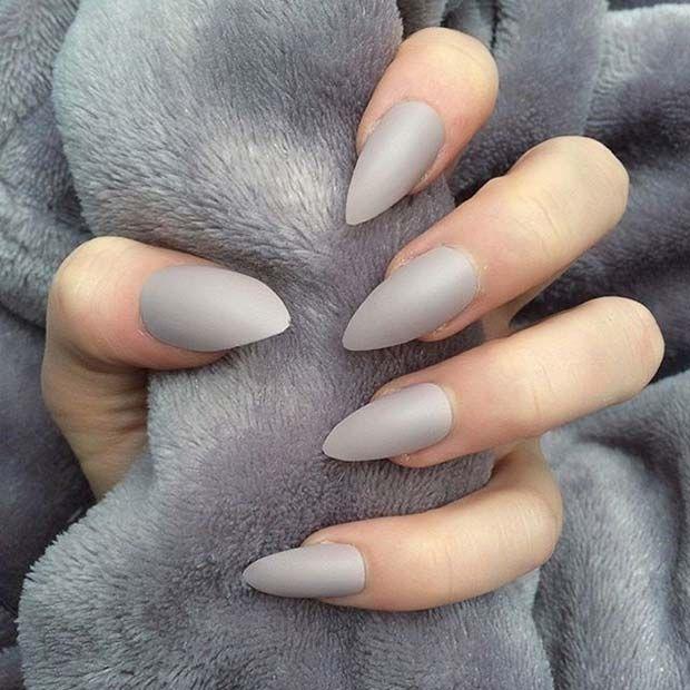 23 Must Have Matte Nail Designs For Fall Grey Nail Art Gray Nails Almond Shape Nails
