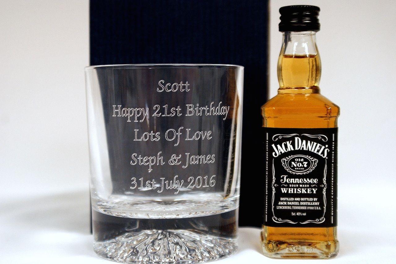 Engraved JACK DANIELS Crystal Glass Tumbler Gift 30th//40th//50th//60th Birthday