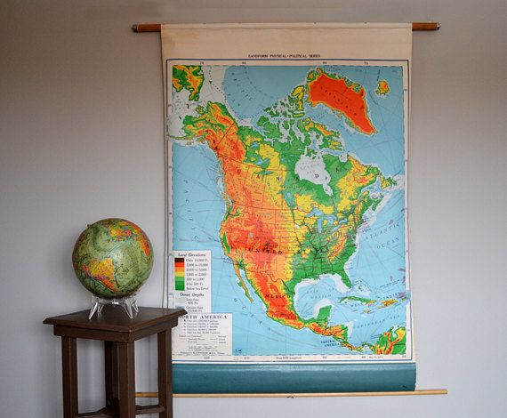 Vintage A. J. Nystrom & Co. Pull Down Map ~ U.S.A. Map ~ School Room ...