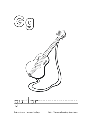 My G Book Guitar Coloring Page