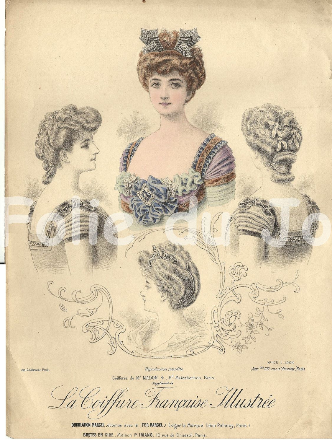 Antique French edwardian hairstyles plate 1900s - La Coiffure Francaise Illustree 11 x 14. $24.00, via Etsy.