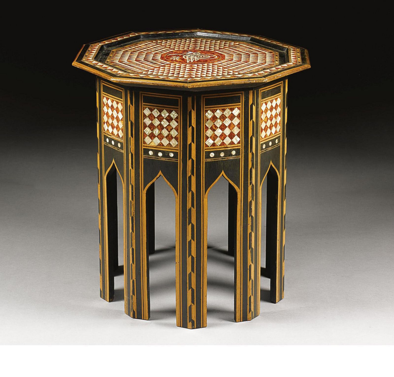 An Ottoman Tortoiseshell And Mother Pearl Inlaid Coffee Table