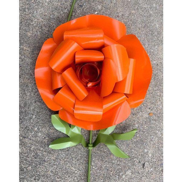 recycled metal rose large garden stake flower yard art orange - Orange Garden Decor
