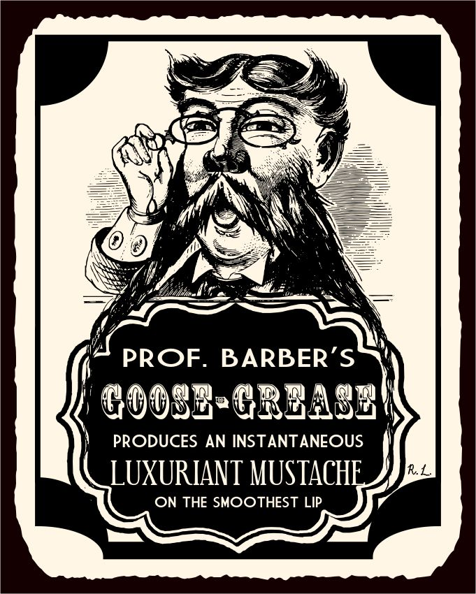 Professor Barbers Mustache Grease Vintage Metal Tin Beauty Sign