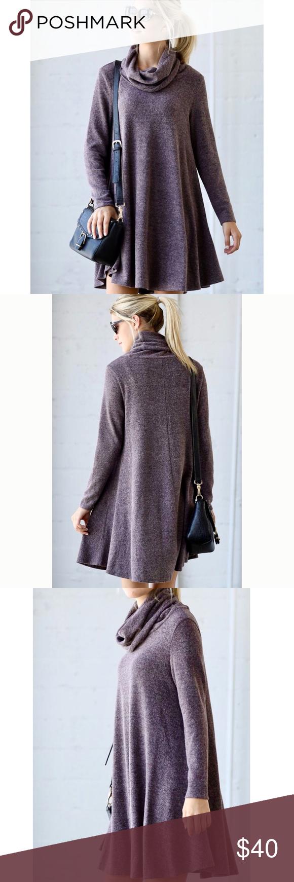 New aline turtleneck sweater dress deep purple atelier and turtle