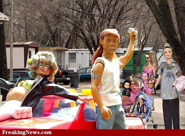Trailer Park Barbie And Friends With Images Bad Barbie Barbie