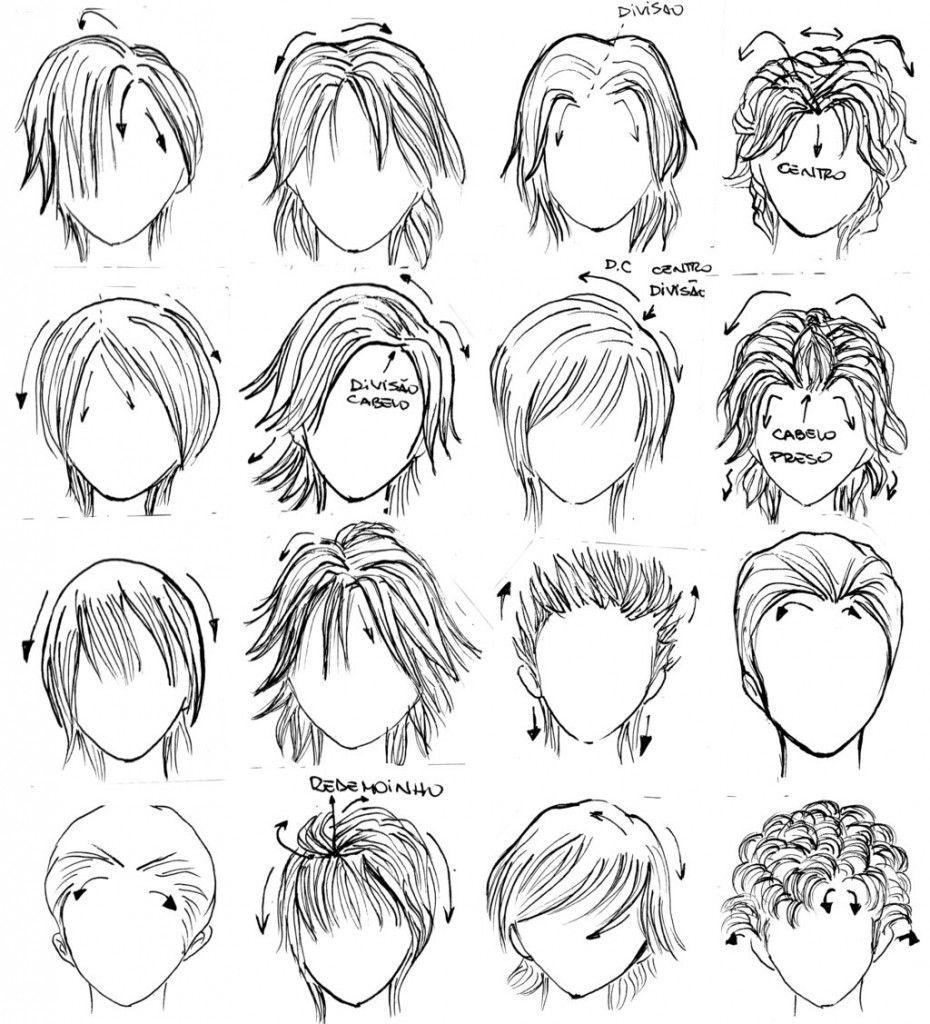 Boy hairstyle line mangá como desenhar rosto expressões faciais e cabelo passoa
