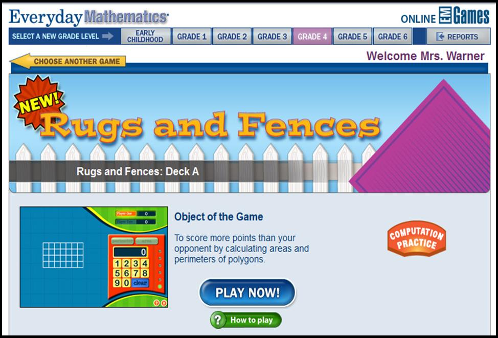 Area Perimeter Resources Teaching Math Everyday Mathematics