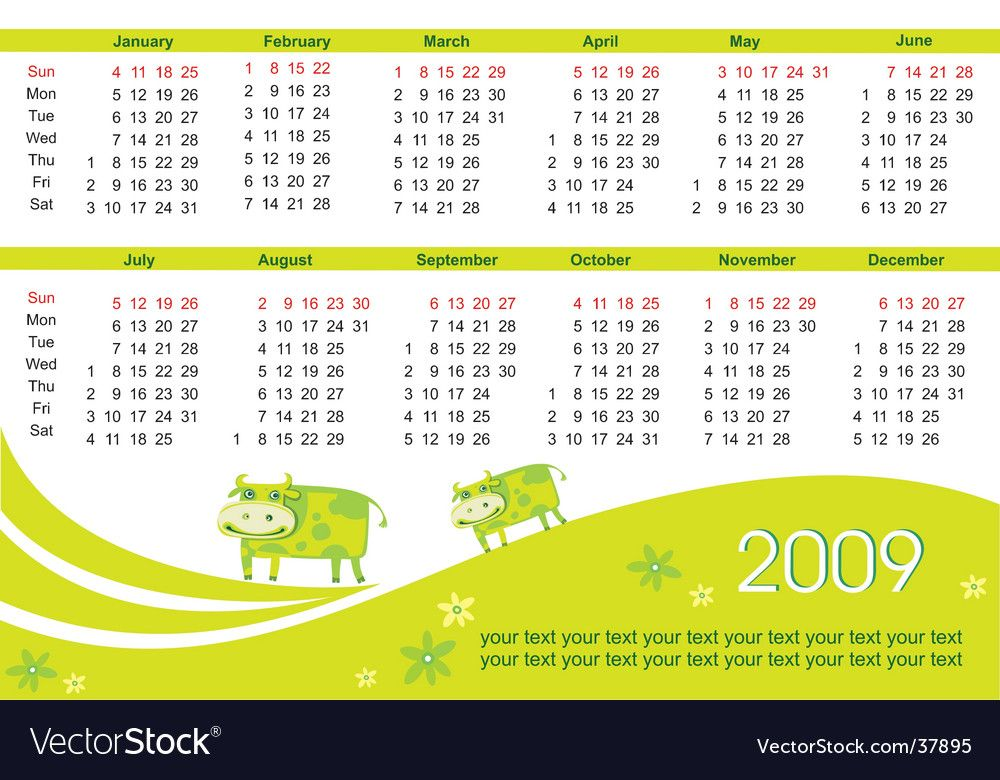 2009 Calendar With Cow Royalty Free Vector Image Sponsored