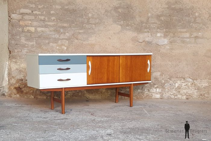 Enfilade vintage scandinave en teck, tiroirs dégradé gris   Buffet