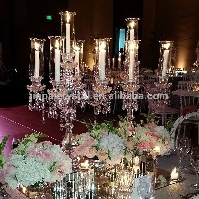 5 Head Arm Hot Sale Crystal Mirror Table Centre Centerpiece With Hurricanes
