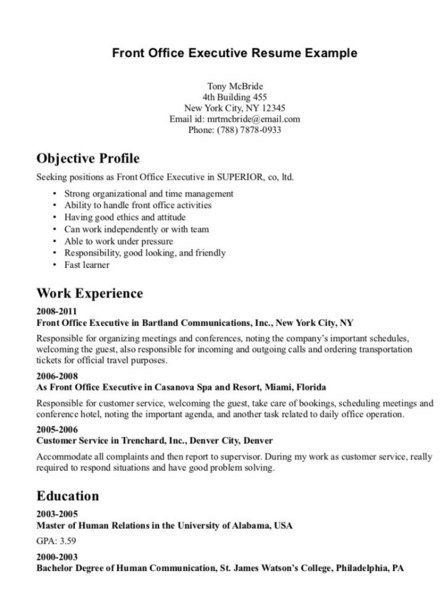 Front Desk Executive Resume -    jobresumesample 2046 - purchasing analyst sample resume