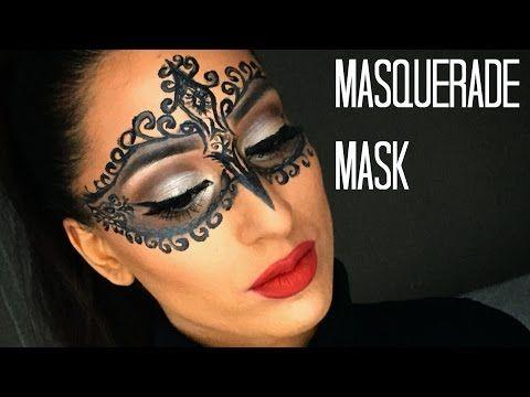 DIY Glam Masquerade Mask - Using only Eyeliner - YouTube | party ...