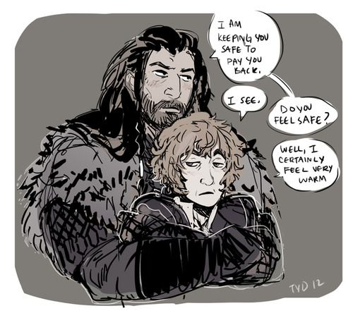 Hobbit cuddles are addictive. Thorin/Bilbo