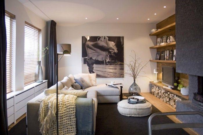 Tv wegwerken met mooie houten achterwand interieur for Interieur foto s