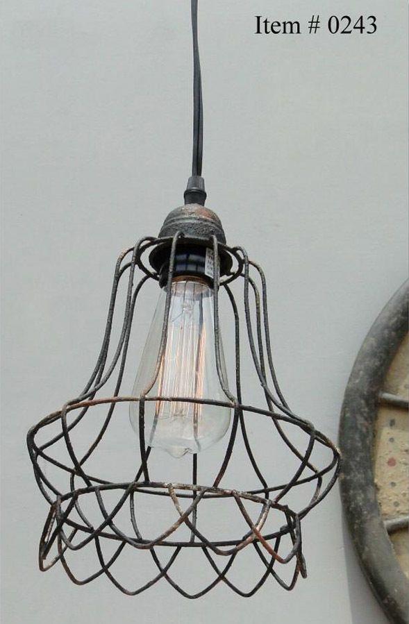 Details About Pendant Light Chandelier W Industrial Steel Cage