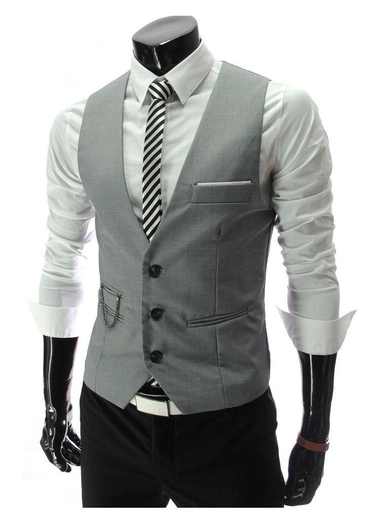 e91191ee7ef Steampunk idea  Men s Formal Slim Fit Pocket Design Casual Fashion V-neck Vest  Coat. 2018 New Arrival Dress ...