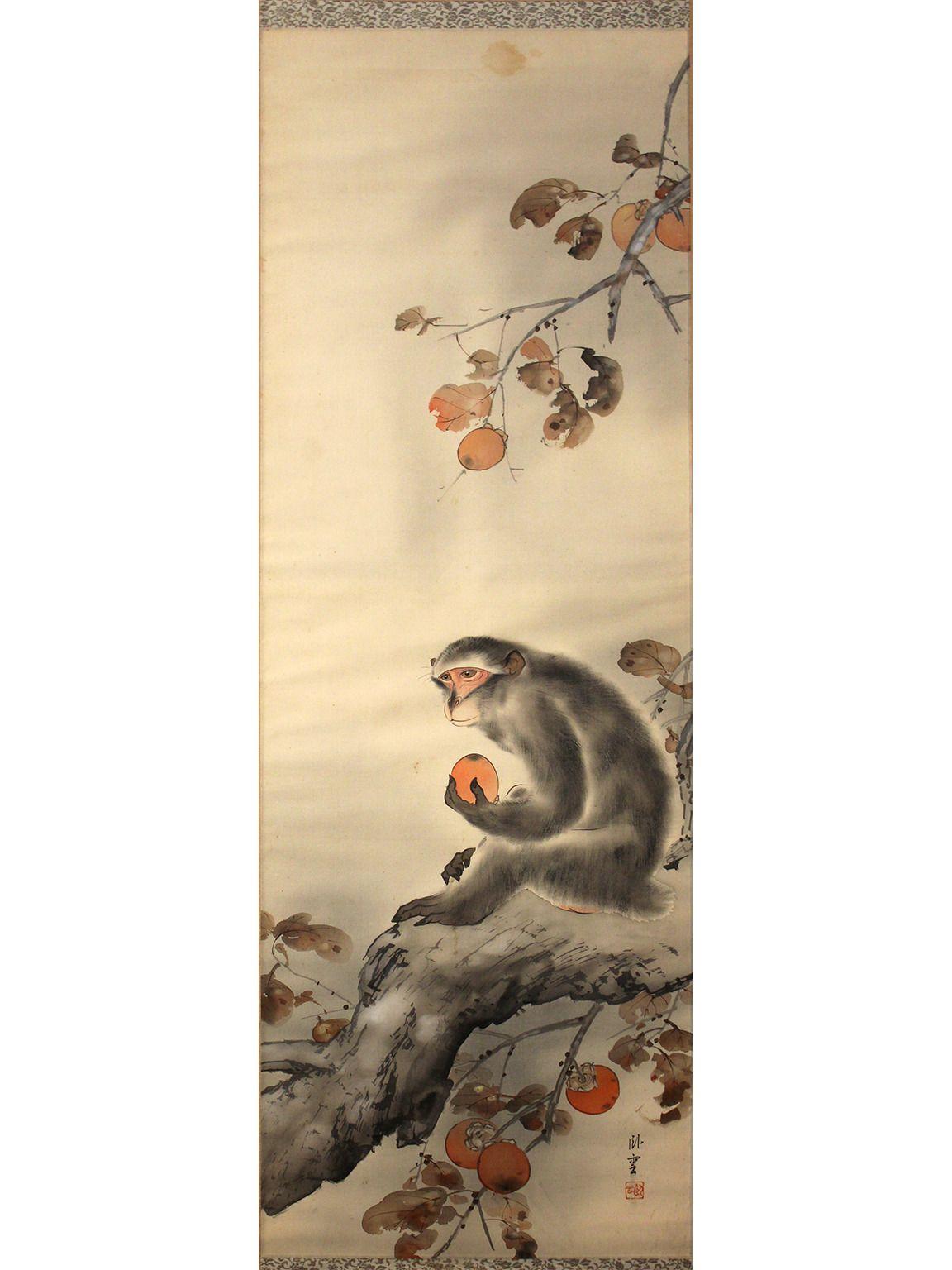 Japanese Meiji Period Monkey Silk Scroll Painting   Pinterest ...