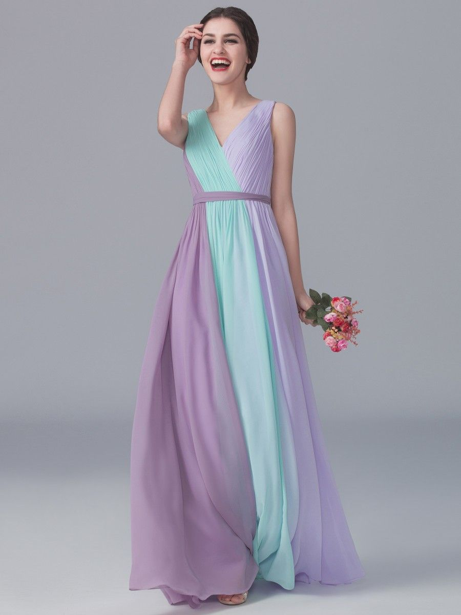 Tri Tone V Neck Dress Color Mint Green Pastel Lilac