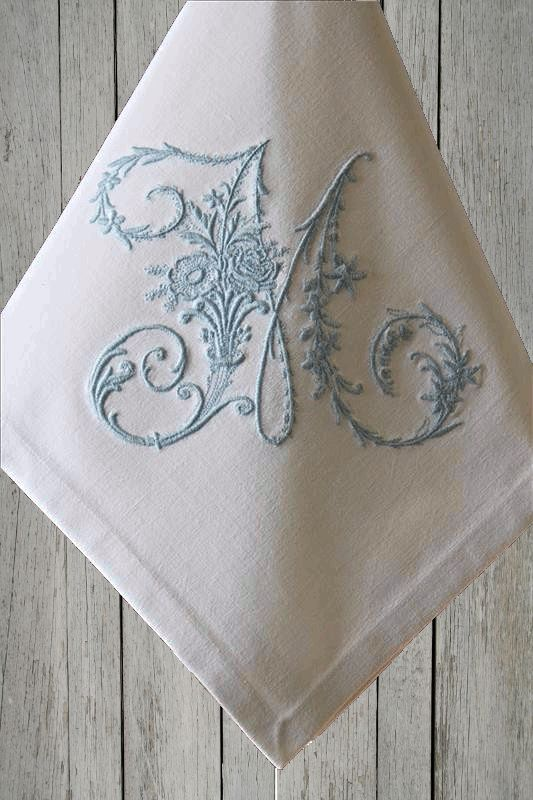 Monogrammed Table Linen Napkins Serviettes Made With Vintage French Metis  Linen All Initials