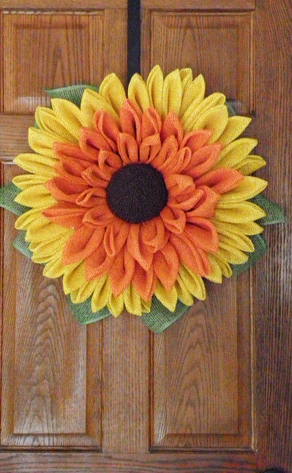 Photo of Guija de girasol burlap, corona de la puerta delantera, decoración del porche delantero, coronas de otoño, decoración de otoño