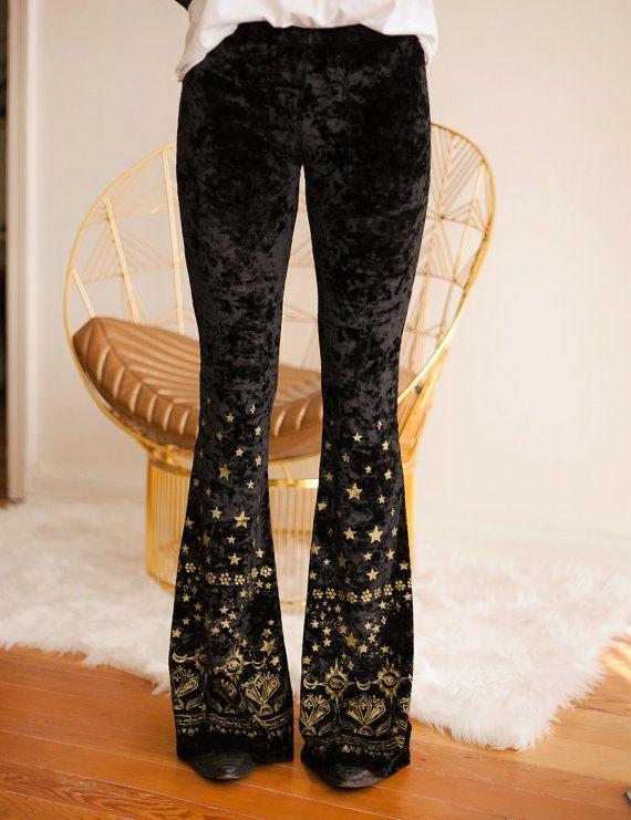 2f67b452 Black velvet bell bottoms gold pants magic pants hand by dazeyla ...