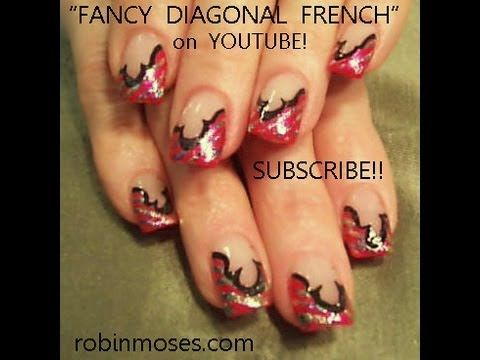 Pink And Black Fancy French Foil Nails Robin Moses Nail Art Design