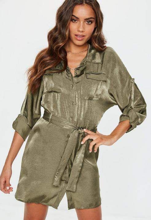 39a16e8dad7 Missguided Khaki Tie Waist Utility Satin Shirt Dress