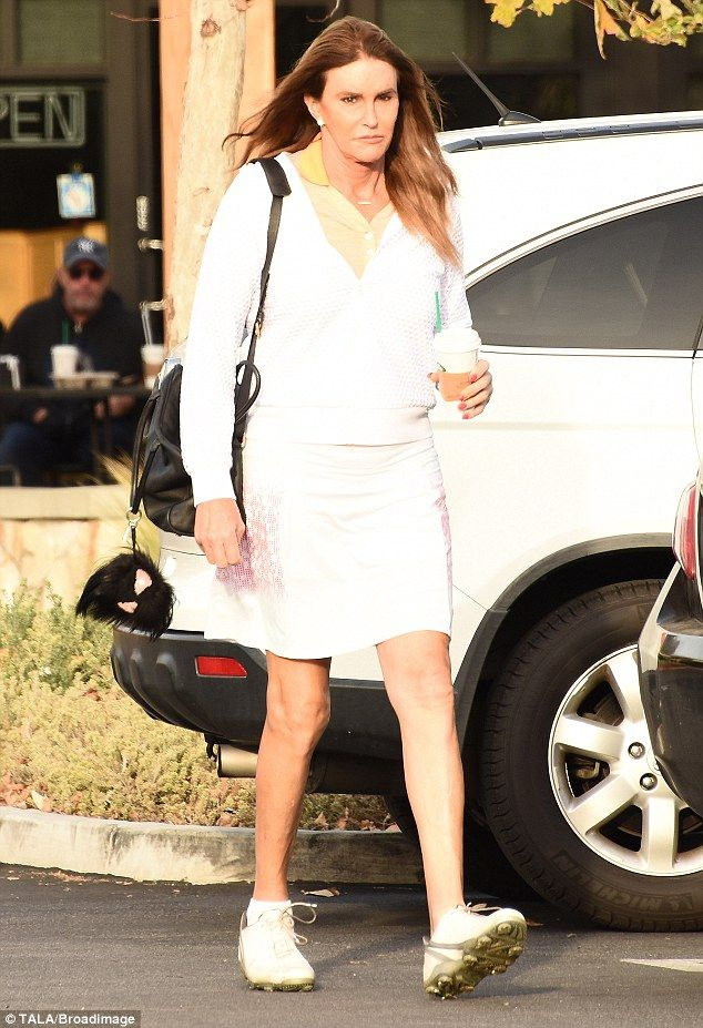 All white! Caitlyn Jenner was perhaps feeling tired as she supped on a coffee while getting set for a round of golf on Monday