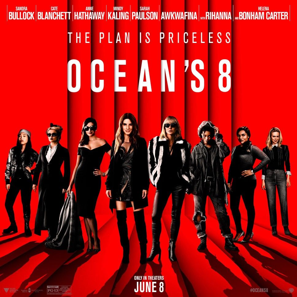 Oceans 8 poster. Video humour, Blu ray, Video musique
