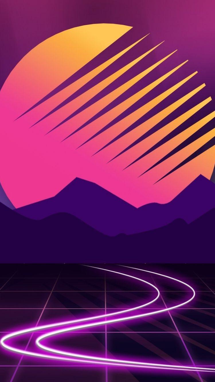 Download 750x1334 Wallpaper Neon Cyberwave Purple Mountains Moon Outrun Iphone 7 Iphone 8 750x1334 Hd Im Vaporwave Wallpaper Retro Waves Retro Futurism
