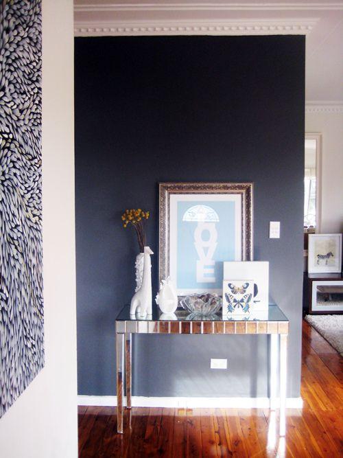Ish And Chi Interior Design Decorating And Style Dark Blue Feature Wall Blue Feature Wall Interior