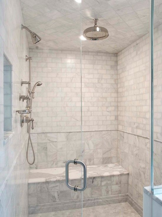 Suzie Pickell Architecture Seamless Gl Shower With Marble Bench Subway Tiles