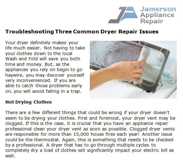 Troubleshooting Three Common Dryer Repair Issues Dryer