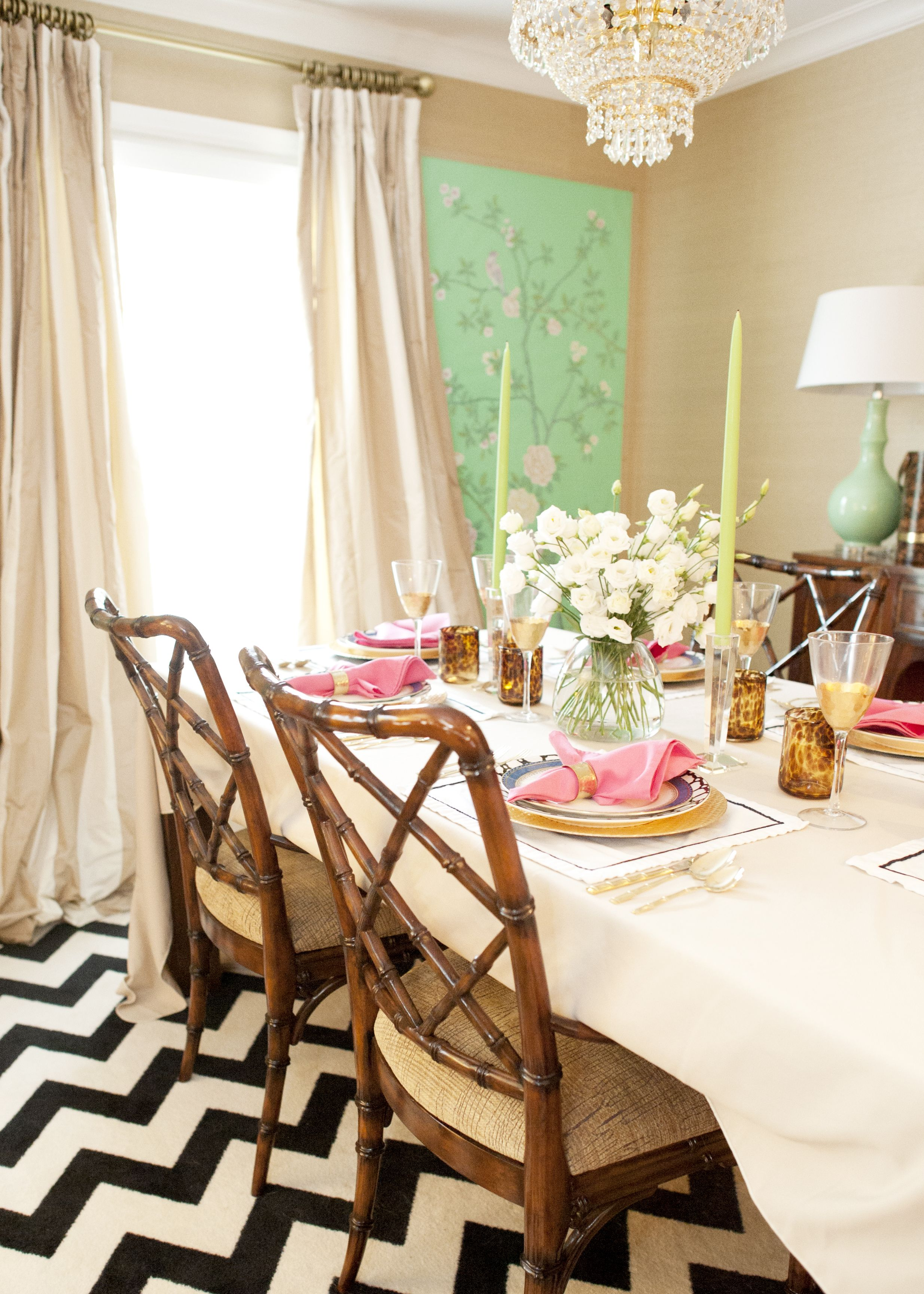 Jessie Epley Short Home Tour Dining Room Styling Pink Gold Mint Bamboo Chairs Chevron Rug Curtain Rod Crystal Chandelier Chinoiserie