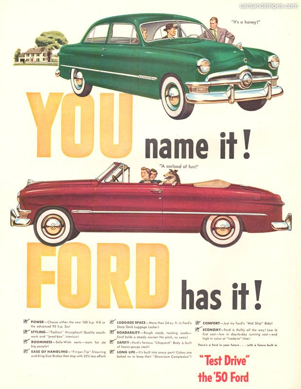 1950 Ford You Name It Ford Has It Original Ad Car Ads
