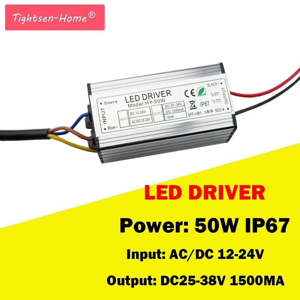 50w Waterproof Ip67 Led Driver Ac Dc 12v 24v 1500ma Power Supply Adapter For Ac Dc 12 24 To 25 38v Led Strip Light Transformer