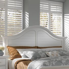 Arched Wood Headboard In White With Slatted Details Product