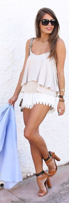 Alloy Apparel White Drawsting Waist Hollow Lace Shorts by Seams For a Desire