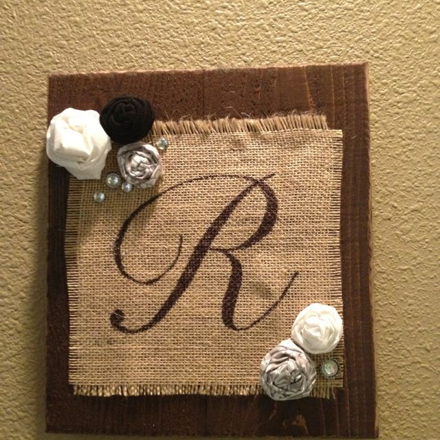 Burlap monogram on old fence boards.  Makes a great wedding gift!