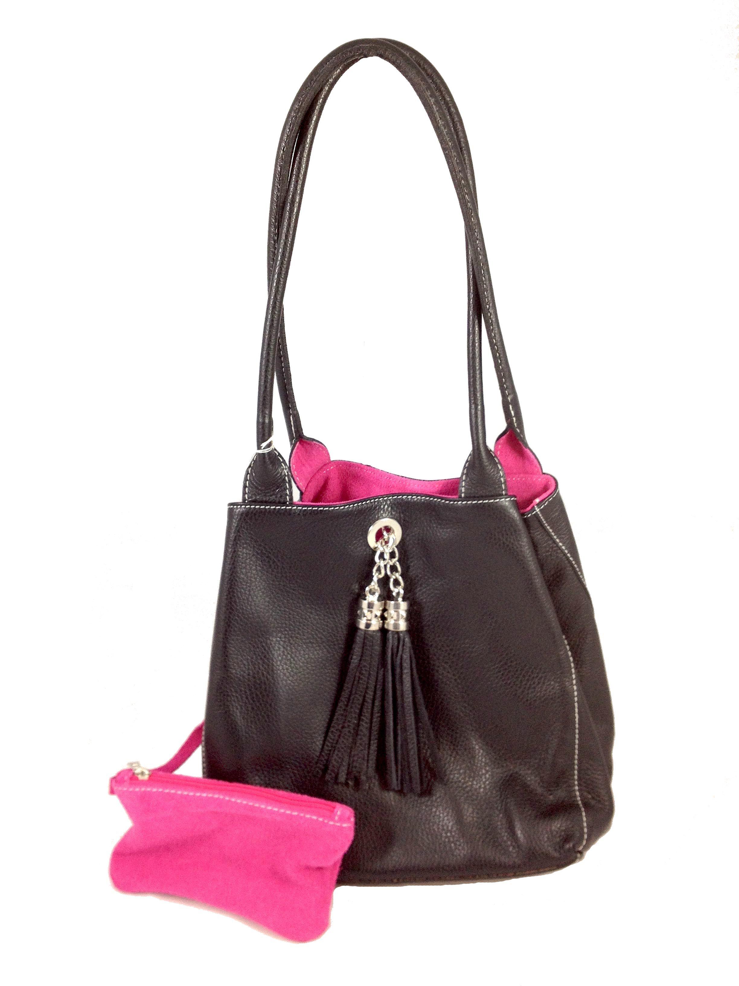 Lyn Reversible Italian Leather Handbag Black Fuchsia Suede