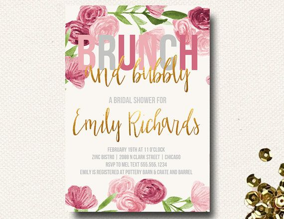 Spring Bridal Shower Invitation Brunch Champagne Bubbly Floral Gold Pink Roses