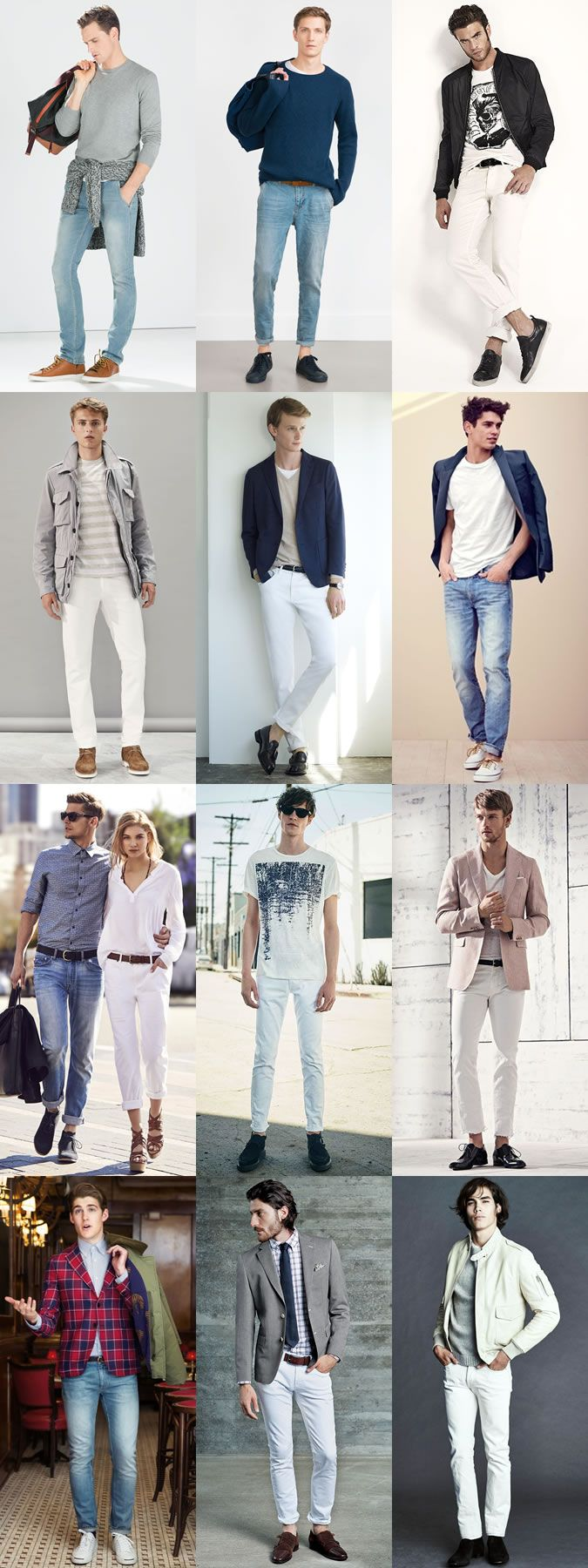 Men's Light Wash Denim Jeans Outfit Inspiration Lookbook | Fashion ...