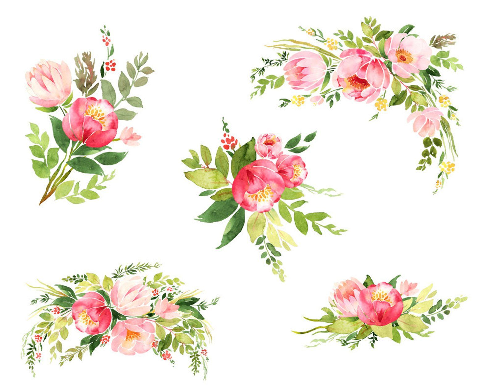 Roses Watercolor Clip Art Flower Clipart Watercolor Bouquet Etsy