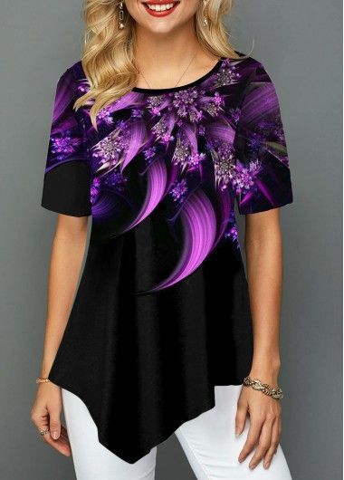 Gradient Crinkle Chest Button Detail Printed T Shirt |  - USD $28.99 ...